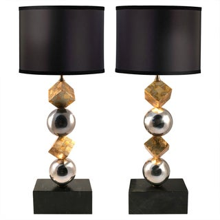 Stainless Steel & Gold Leaf Lamps - A Pair