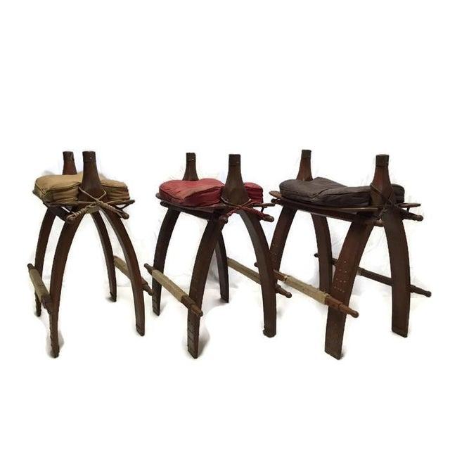 Vintage Egyptian Camel Saddle Bar Stools Set - 4 - Image 4 of 10