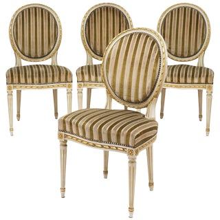 Louis XVI Gold Leaf Striped Velvet Dining Chairs - Set of 4
