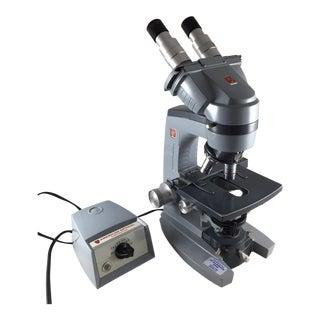 Vintage Binocular Microscope with Transformer