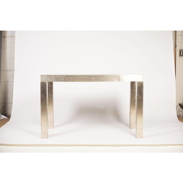 West elm parson table in metal wrap chairish - West elm parsons console ...