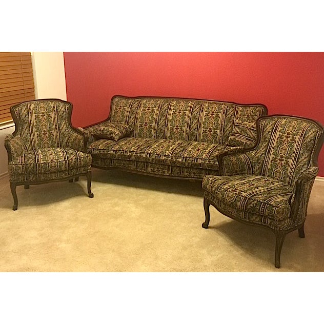 Image of Mid-Century Sofa & Two Winged Armchairs Set