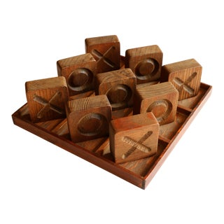 Vintage Wooden Tic Tac Toe Set