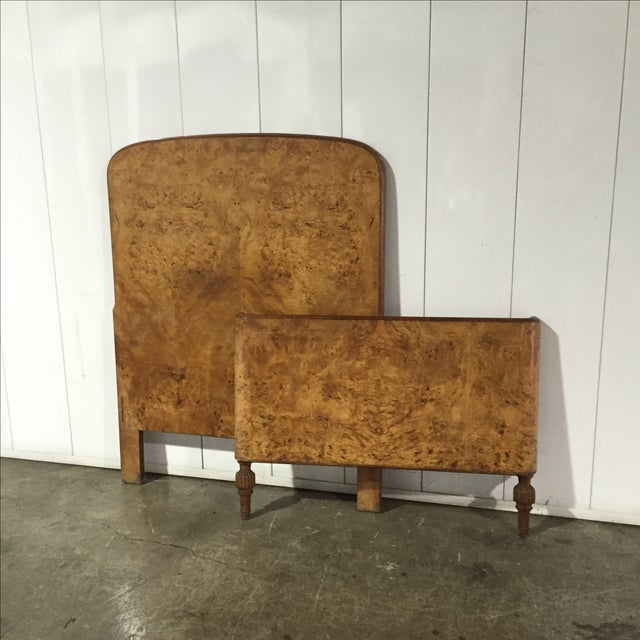 Art Deco Burl Wood Twin Bed Frame - Image 3 of 6