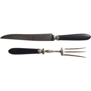 Antique French Ebony & Silver Carving Set - A Pair