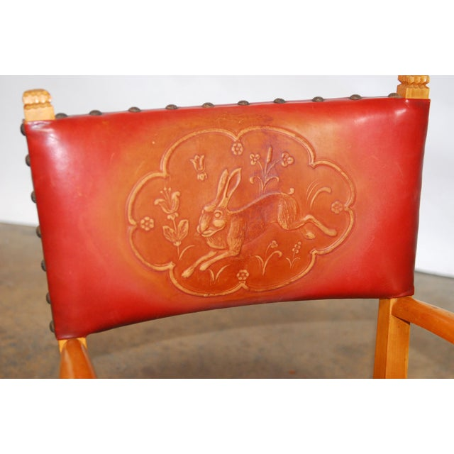 Norwegian Folk Art Leather Armchairs - Set of 4 - Image 5 of 10