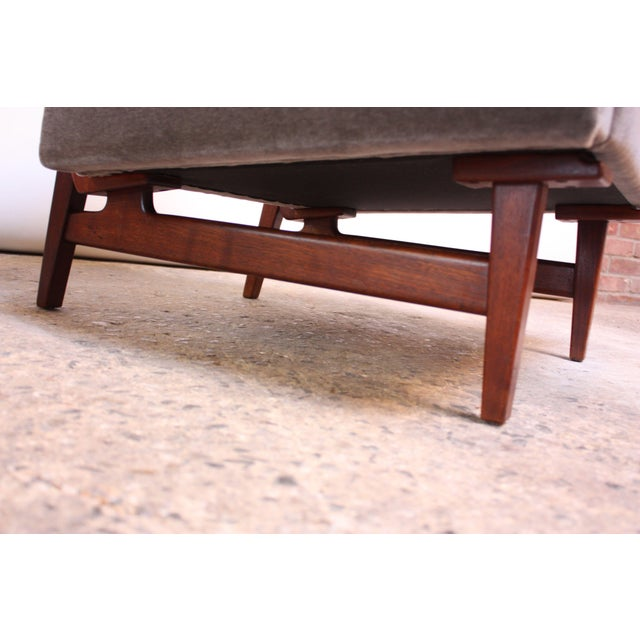 Early Jens Risom Walnut and Mohair Lounge Chair - Image 10 of 11