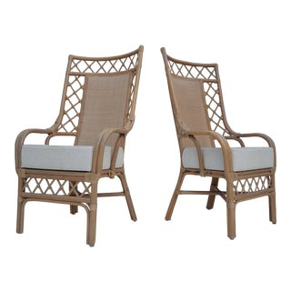 Vintage High Back Rattan And Cane Club- Accent Chairs A Pair.