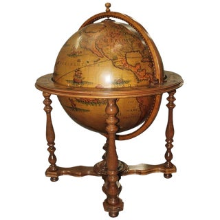 Circa 1960s French Mid-Century Modern World Globe Dry Bar