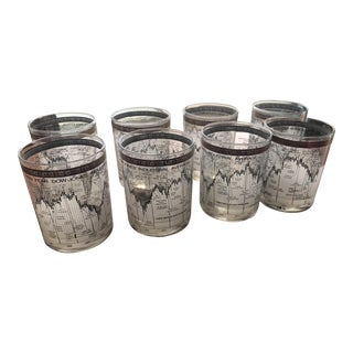 Vintage Cera Dow Jones 1967-78 Lowball Tumblers - Set of 8