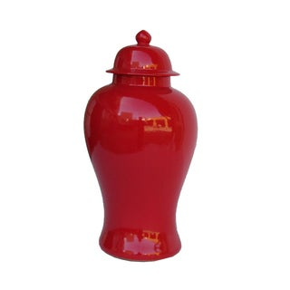 Chinese Traditional Red Porcelain General Jar