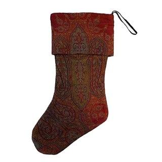 1920s Woven Paisley Christmas Stocking