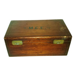 Antique Dove Tailed Wooden Cigar Humidor Box