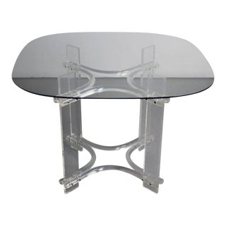 Charles Hollis Jones Lucite, Chrome & Glass Dining Table