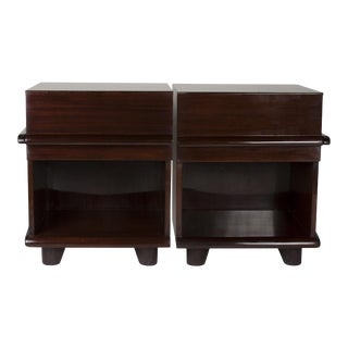 Pair of Single Drawer Walnut End Tables, American, 1970s