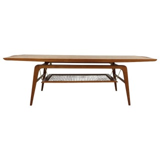 Teak & Brass Floating Coffee Table