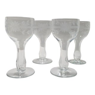 Vintage Etched Crystal Hollow Stem Champagne Glasses - Set of 4
