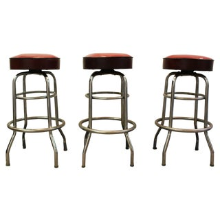 Mid Century Modern Swivel Bar Stools -- Set of 3