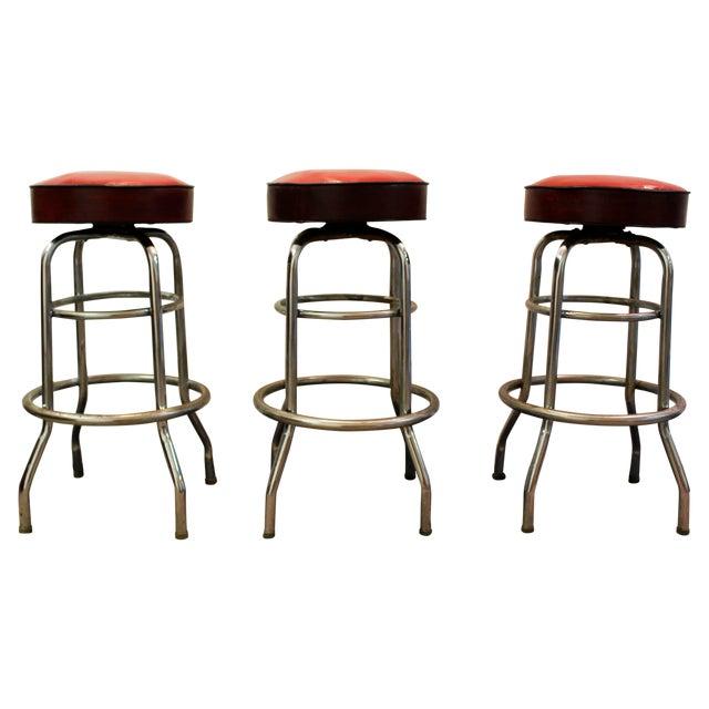 Mid Century Modern Swivel Bar Stools -- Set of 3 - Image 1 of 11