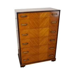 Vintage Art Deco Satin Wood Tall Chest