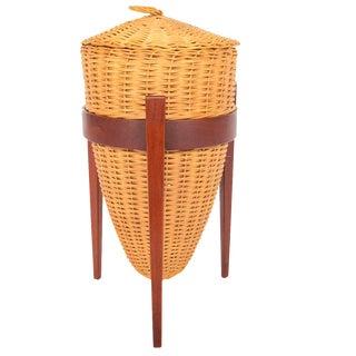 Danish Modern Wicker Sewing Basket