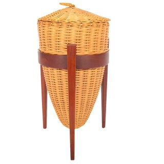 Danish Modern Wicker Sewing Basket