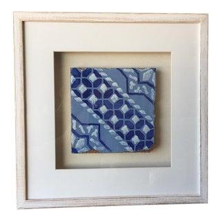 Framed Italian Antique Tile - Light Blue, Dark Blue and White