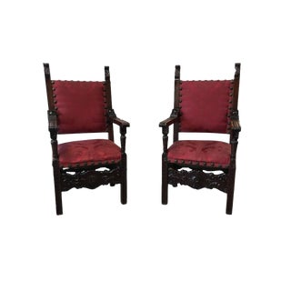 Italian Renaissance Revival Carved Armchairs - A Pair
