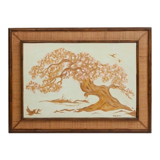 Rattan Framed Cherry Blossom Oil on Canvas Painting