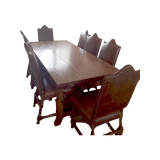 Walnut Trestle Dining Table & Leather Chairs - S/9
