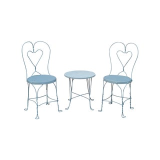 1950s Iron Garden Chairs & Table - 3 Pieces