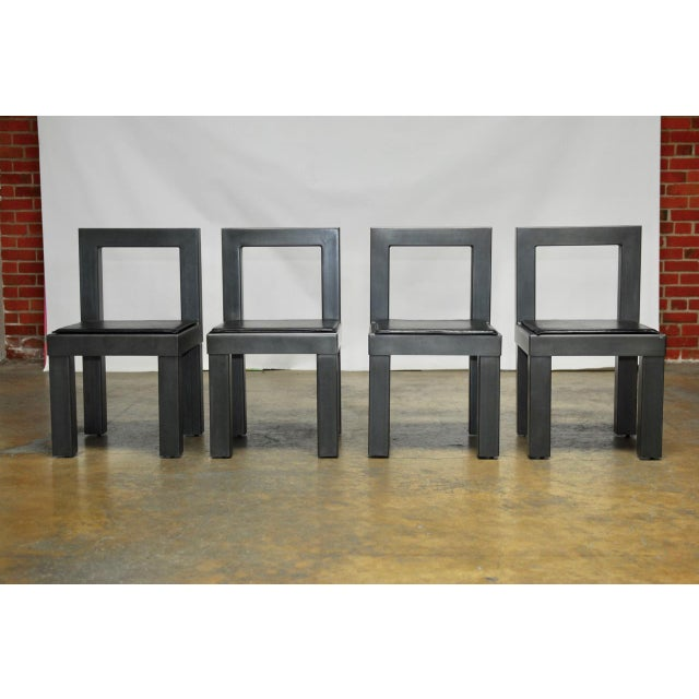 Gunmetal gray steel modern industrial dining chairs set for Modern industrial dining chairs