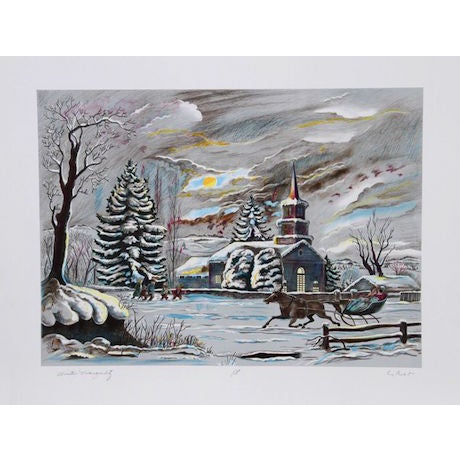 """Bogdan Grom, """"Winter Tranquility,"""" Lithograph - Image 1 of 2"""