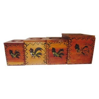 Vintage Rooster Wood Ware Canisters - Set of Four