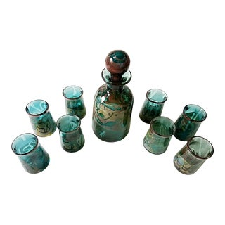 Mid-Century Blown Glass Teal Green Decanter & 8 Glasses Set