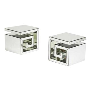 Greek Key Design Side Tables - A Pair