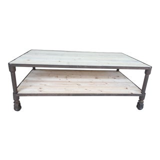 Industrial Solid Steel & Wood Two-Tier Coffee Table