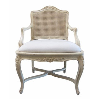 French Country Carved Cane Back Arm Chair