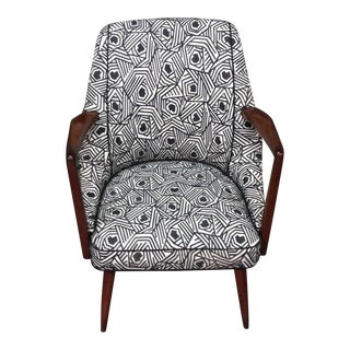 Mid-Century Tweed & Wood Lounge Chair
