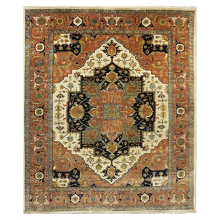 Indian Heriz Serapi Rug - 7-7 x 9-7