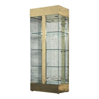Vintage Modern Brass & Glass Lighted Display Vitrine Cabinet