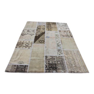 Turkish Vintage Overdyed Patchwork Oushak Rug - 4′10″ × 6′11″