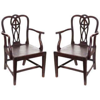 English Chippendale Arm Chairs - A Pair