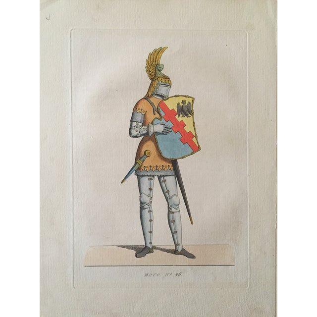 Image of Antique 1842 Knight in Armor Color Etching