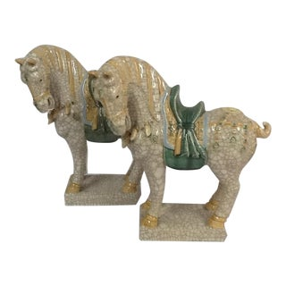 Italian Ceramic Crackle Horses - A Pair