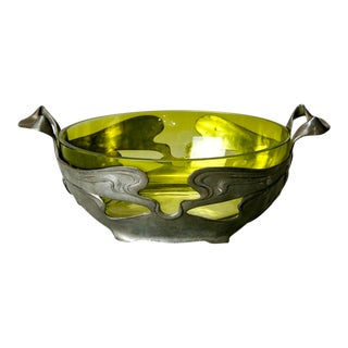 Art Nouveau Green Glass Center Bowl