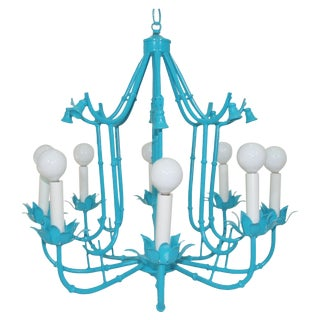 Turquoise Faux Bamboo Pagoda Chandelier