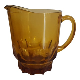 Vintage Amber Glass Pitcher