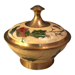 Brass Enamel Trinket Box
