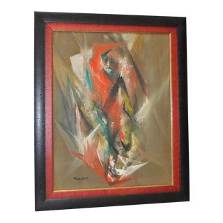 "1960s Harriet Thorpe ""Fire Bird"" Original Abstract Oil Painting"